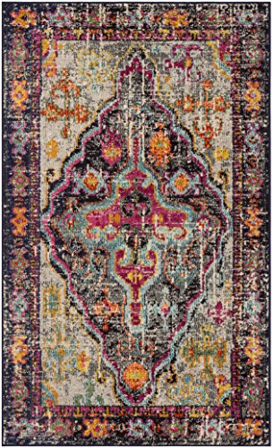 Safavieh Monaco Collection MNC247R Vintage Bohemian Medallion Distressed Grey and Fuchsia Pink Area Rug (4′ x 5'7″) For Sale