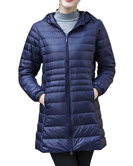 0249fd0659716 Femme Doudoune à Capuche Ultra Légère Longues Manteau Chaud Blouson  Compressible Veste Duvet Bleu Marine S