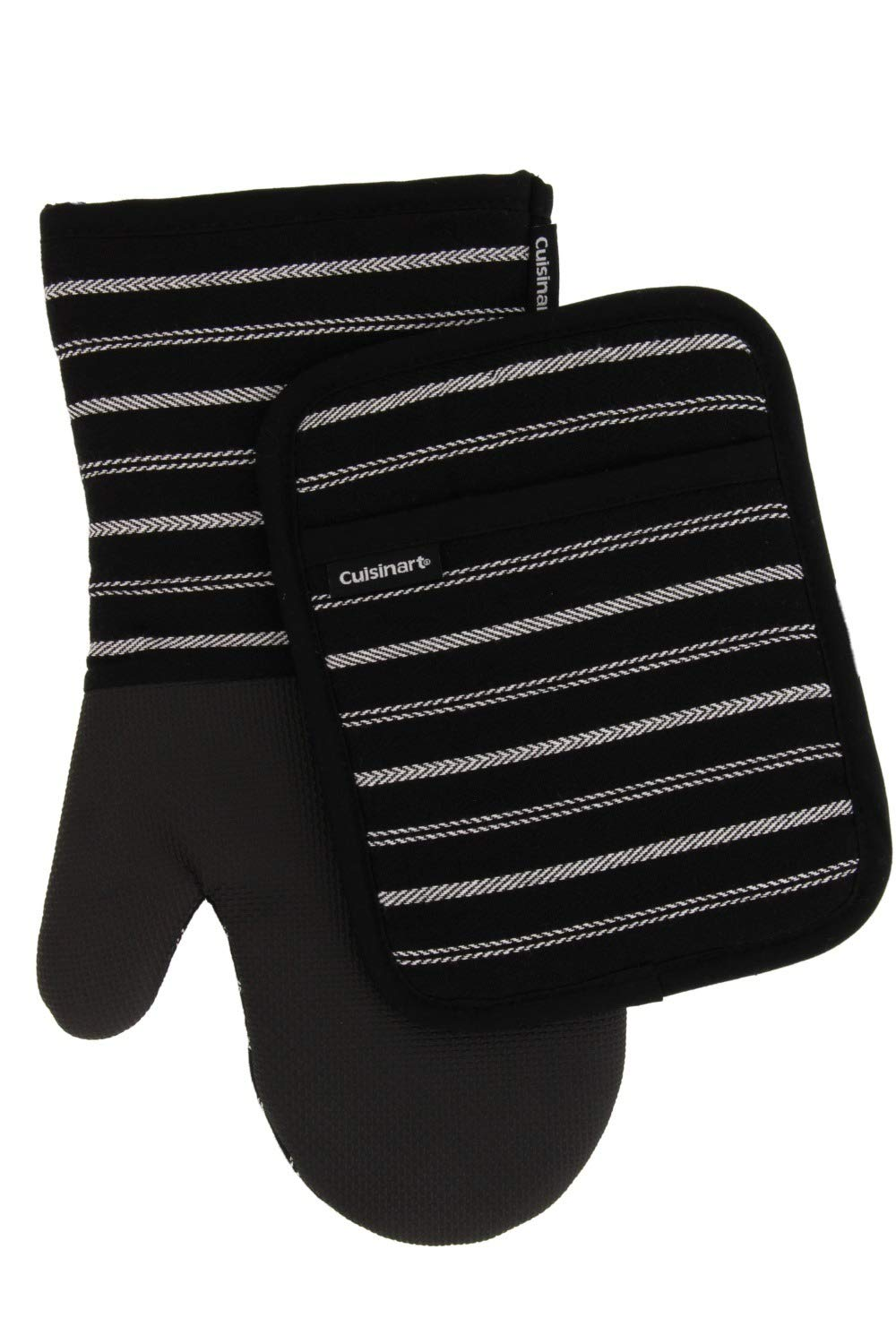 Cuisinart Kitchen Oven Mitt/Glove & Rectangle Potholder with Pocket Set w/Neoprene for Easy Gripping, Heat Resistant up to 500 Degrees F, Twill Stripe- Jet Black