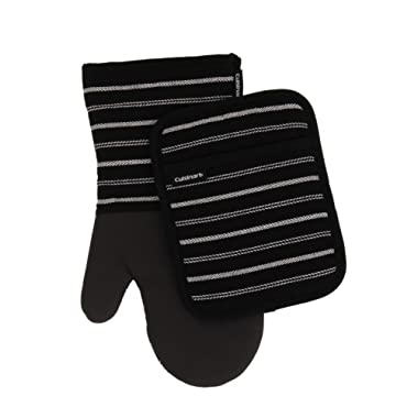 Cuisinart Neoprene Oven Mitts and Potholder Set -Heat Resistant Oven Gloves to Protect Hands and Surfaces with Non-Slip Grip, Hanging Loop-Ideal for Handling Hot Cookware Items, Twill Stripe Jet Black