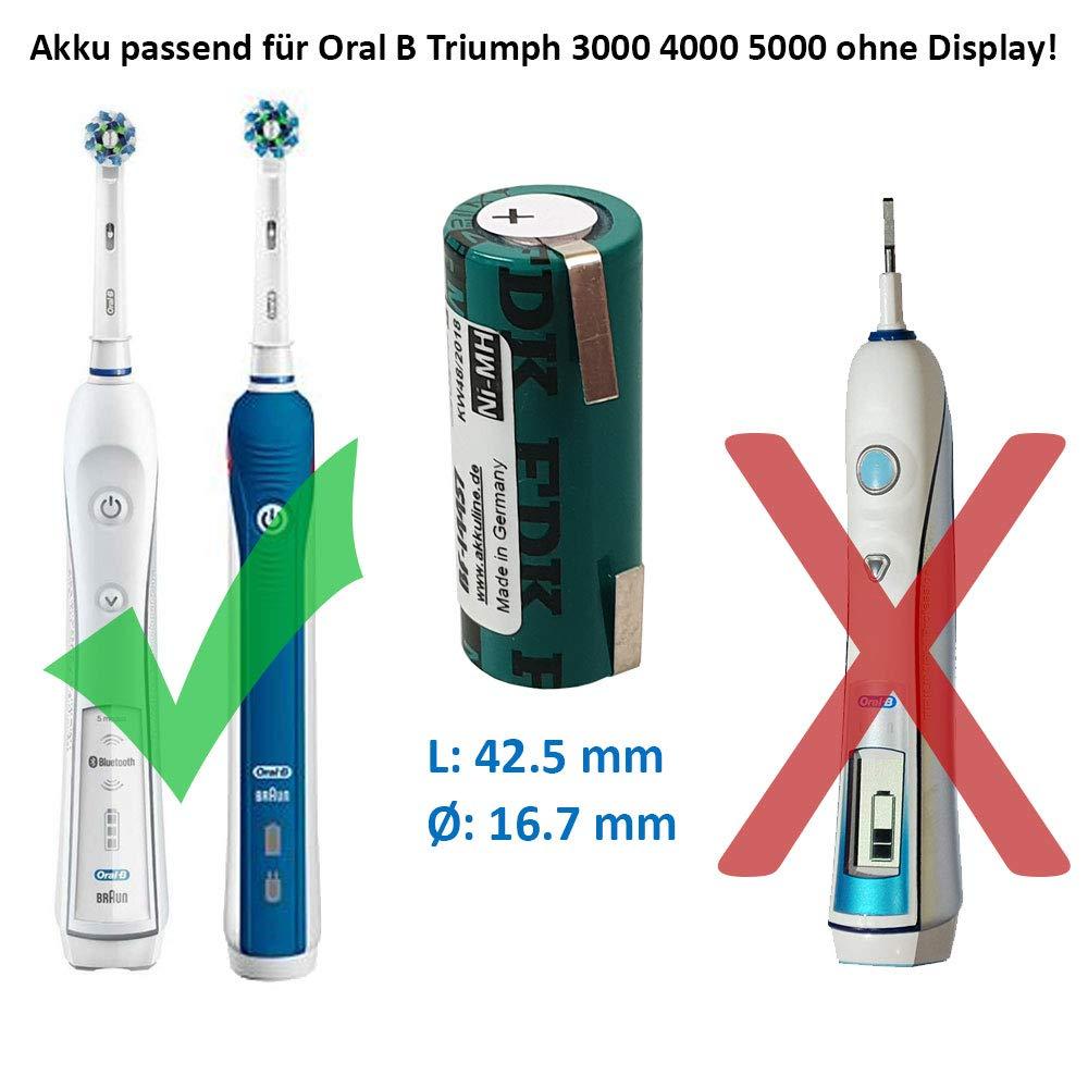 Reemplazo-batería para Braun Oral-B Triumph 5000 17 x 42 mm cepillo de dientes 4/5 A FDK/Sanyo Batería: Amazon.es: Electrónica