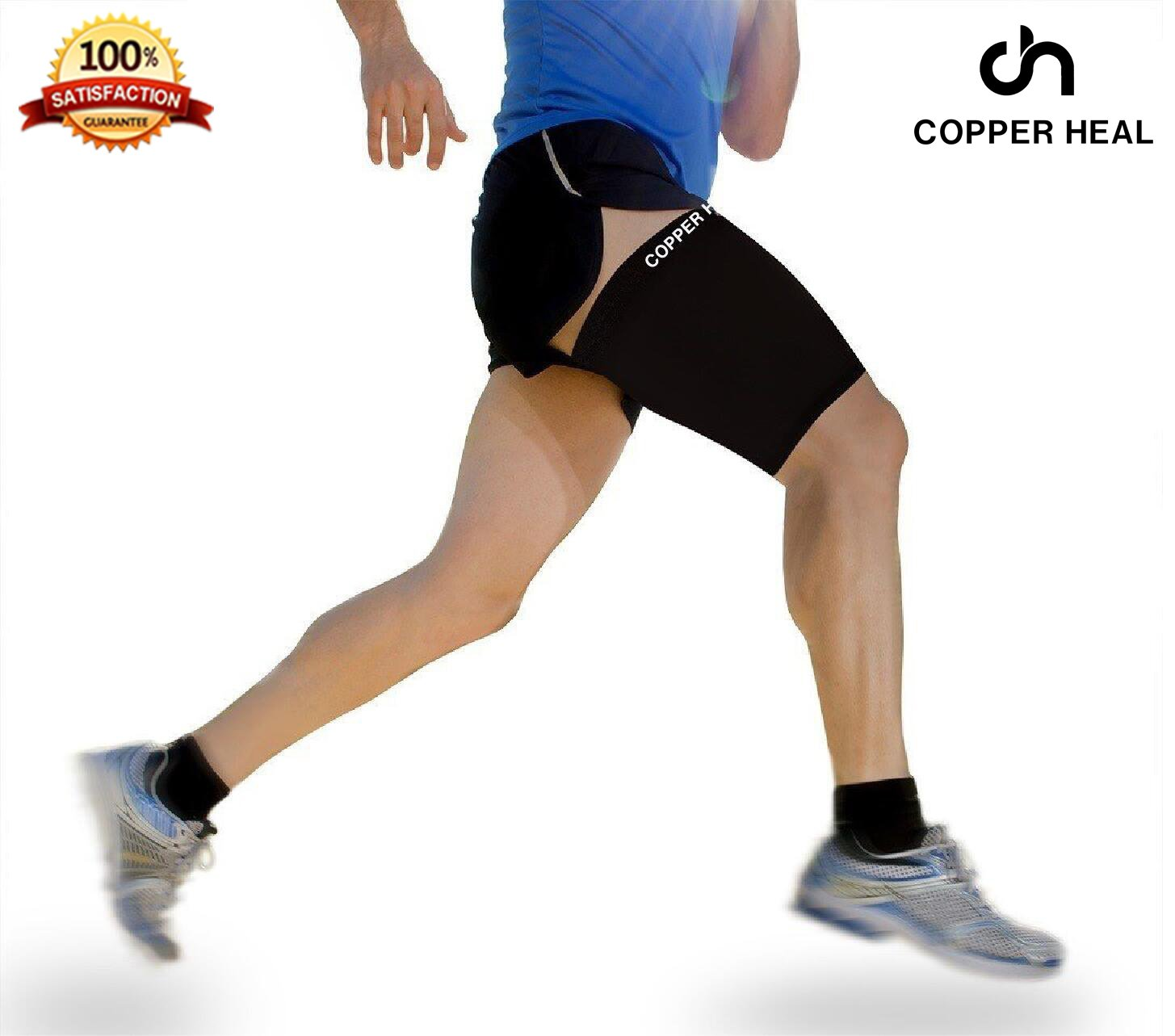 Thigh Compression Recovery Sleeve by COPPER HEAL - Recover from Sore Pulled Hamstring and Groin Strain