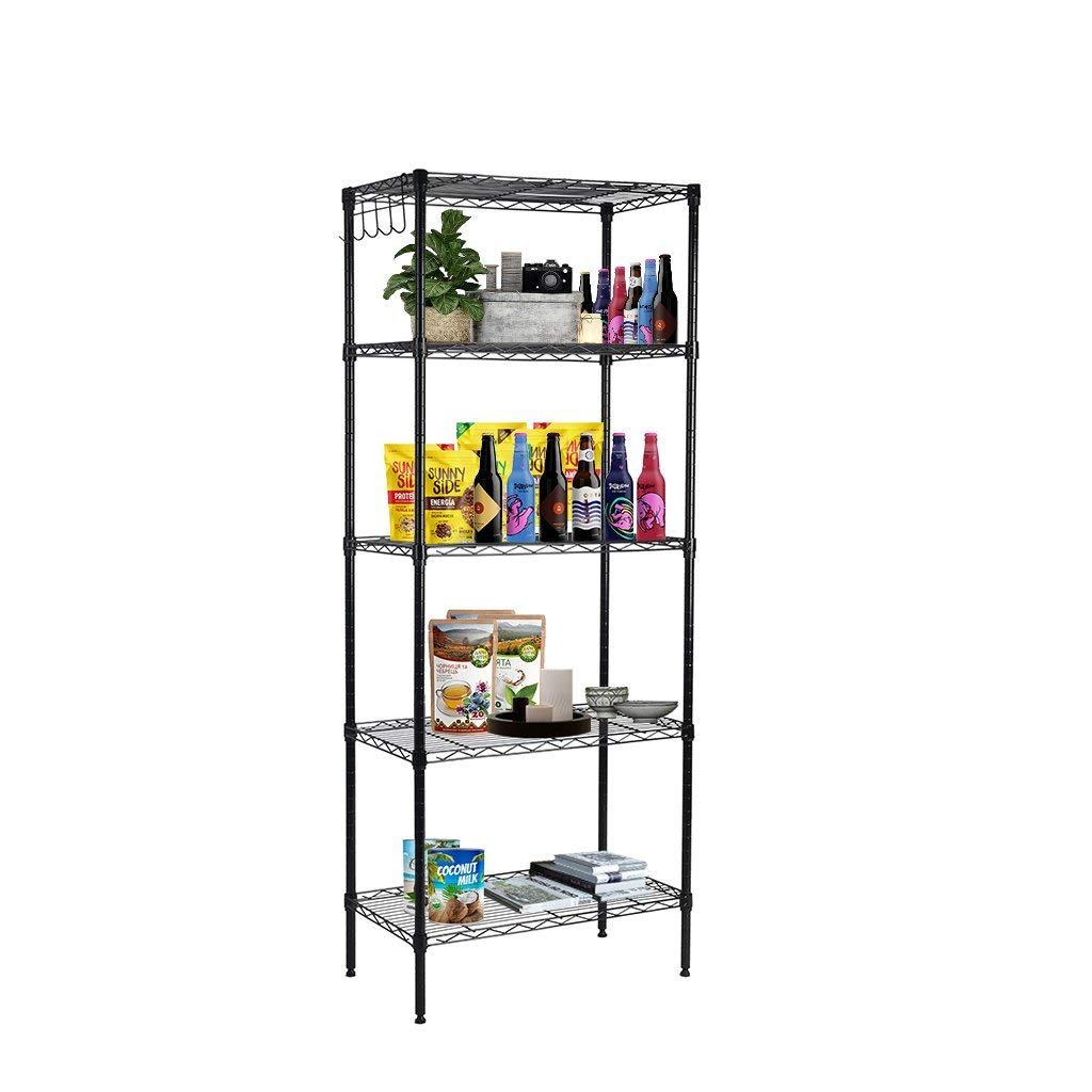 Storage-Rack. Floor Standing Boltless Wire Shelving Unit W/5 Adjustable Utility Shelves For Home, Office, Garage, Warehouse. Indoor Industrial Heavy Duty Metal Vertical Stand For Storing, Organizing.