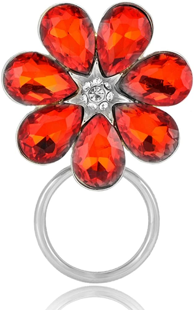 RUXIANG Big Red Crystal Flower Magnetic Glasses Holder Brooch Pin Clothes Jewelry