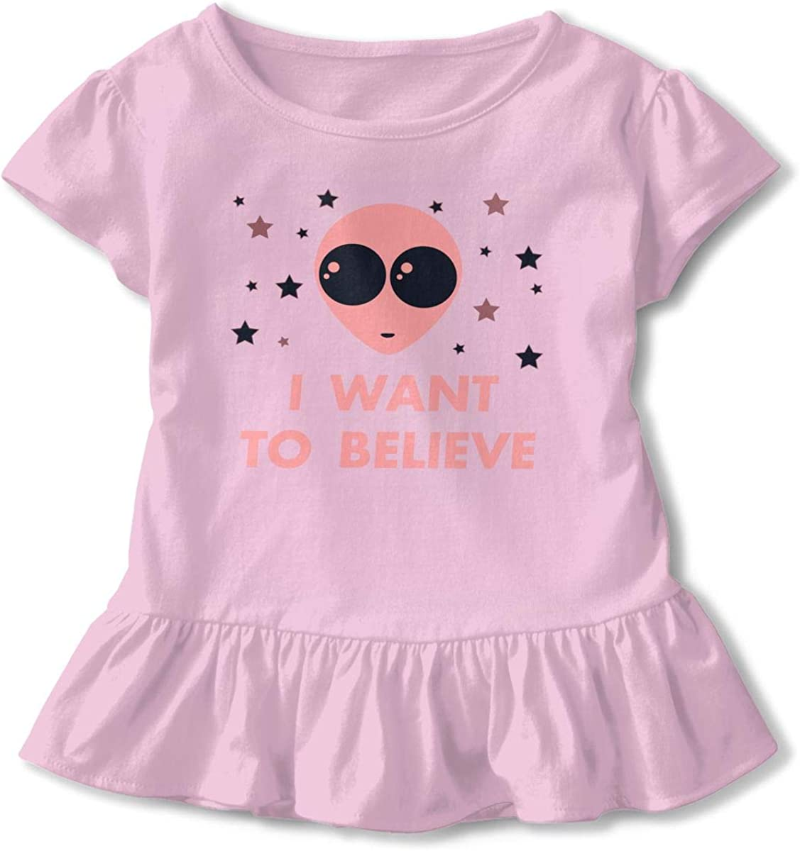Alien UFO Toddler Girls T Shirt Kids Cotton Short Sleeve Ruffle Tee