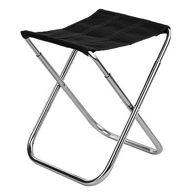 Ultra Lger En Alliage Daluminium Extrieur Tabouret Pliant Pche Chaise Noir