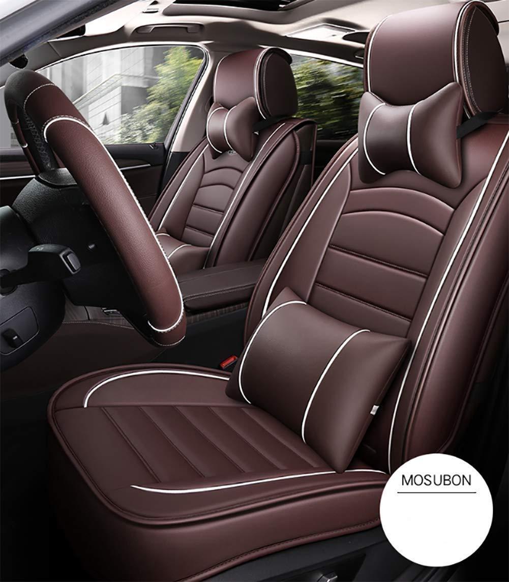 車のシートカバーセット 革の耐久性のある居心地の良い ソフトシートクッションユニバーサルモデル - 4シーズンに適した、10個セット(カラー:ブラウン)   B07SZBMDR3