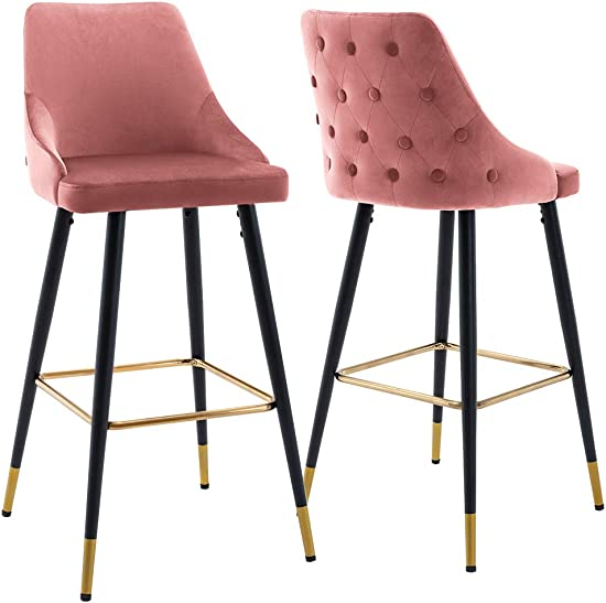 Duhome Barstools Set of 2 Modern Tall Bar Chairs Height 30″ Button Tufted Velvet Accent Chairs Pink
