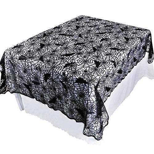 Halloween Table Cover, Iuhan Happy Halloween Spiderweb Tablecloth Black Lace Bat Spider Party Table Decor Curtain (S-132X178cm)]()
