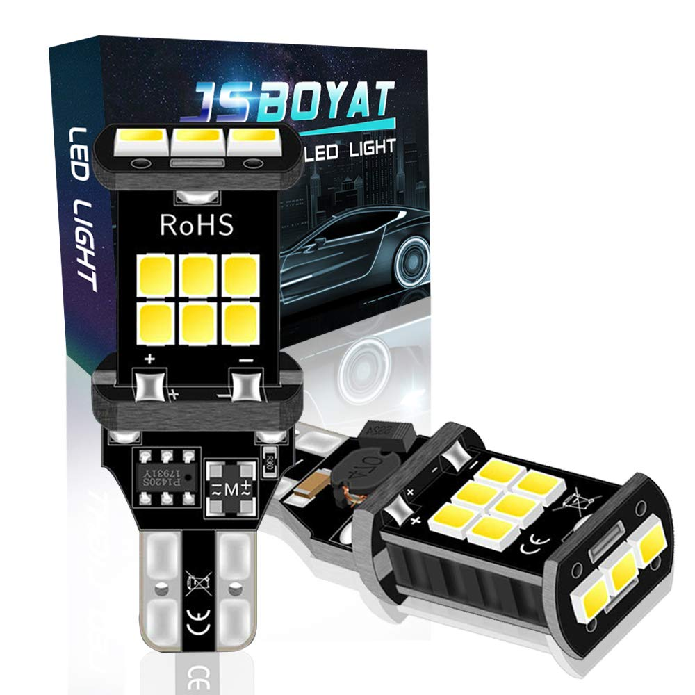 JSBOYAT 921 Backup Reverse Lights Extremely Bright Canbus Error Free 912 T15 W16W Led Bulbs with 15-SMD 2835 Chipsets for Car Backup Lights 6500K Xenon White (2Pack)