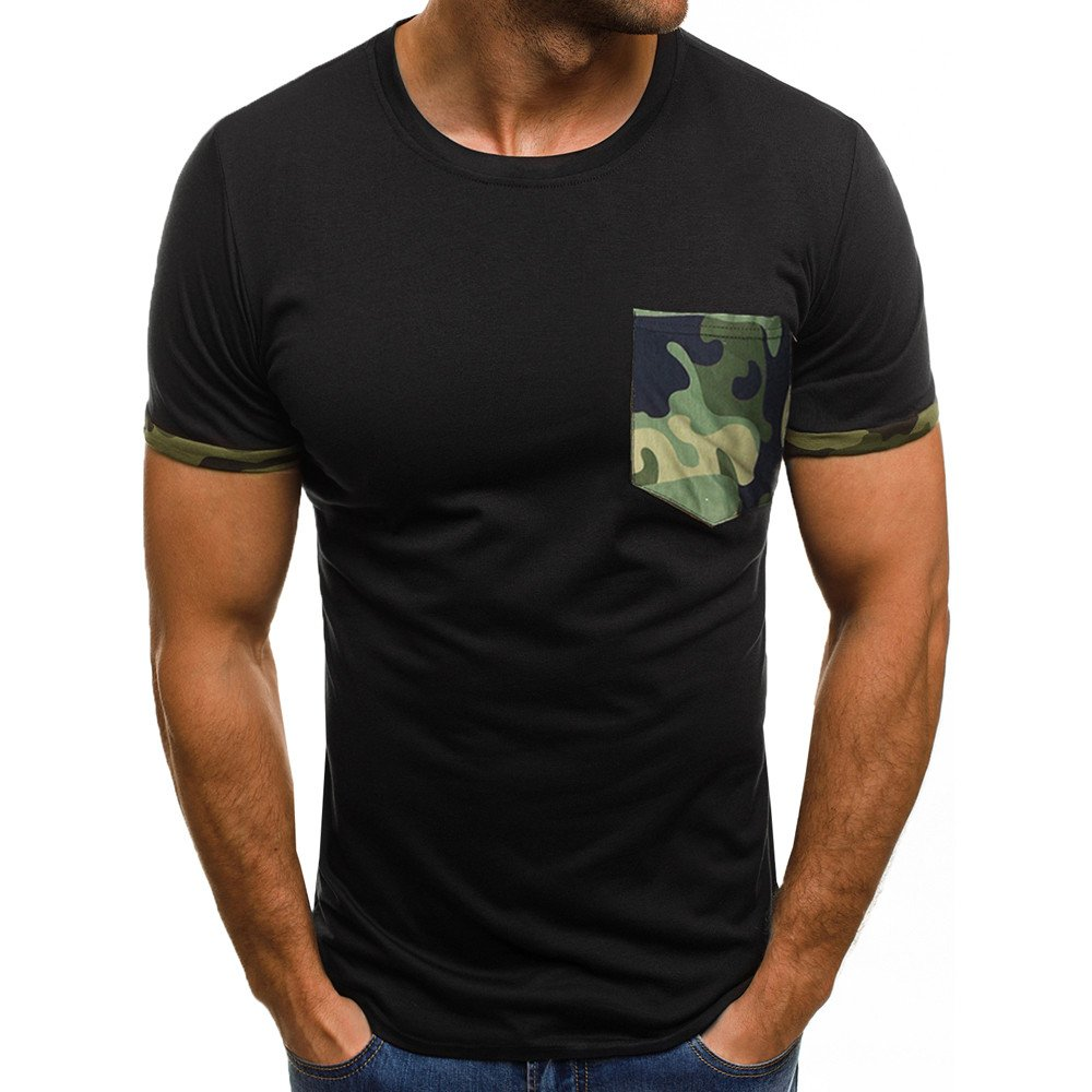 KIKOY Men's Muscle T-Shirt Slim Casual Fit Short Sleeve Camouflage Pocket Tops
