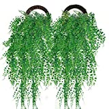 Outgeek Artificial Hanging Plants, 2PCS Artificial Green Ivy Vine Artificial Shrubs Hanging Vine Plant for Home Garden Outdoor Wall Decoration