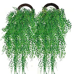 Outgeek Artificial Hanging Plants, Artificial Green Ivy Vine Artificial Shrubs Hanging Vine Plant for Home Garden Outdoor Wall Decoration 119
