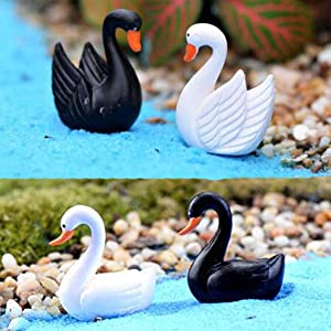 Ruzucoda Miniature Swan Figure Animal Bird Figurines Fairy Garden Decorations White & Black 8 PCS