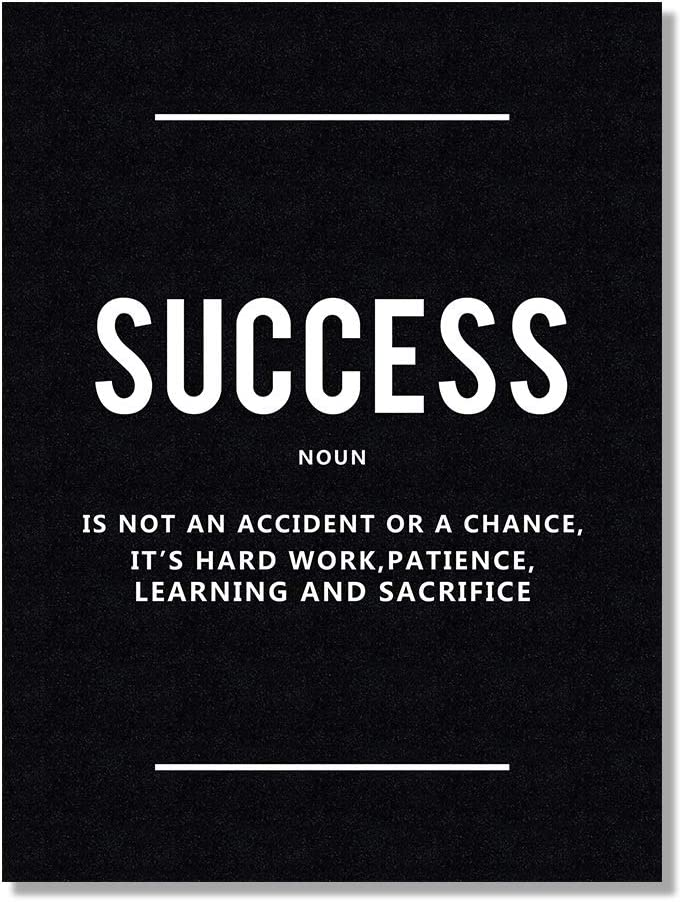 HLJ ART Inspirational Quote Wall Decor - Success Noun Motivational Artwork Picture for Office Decoration (Black F, 12x16inch)