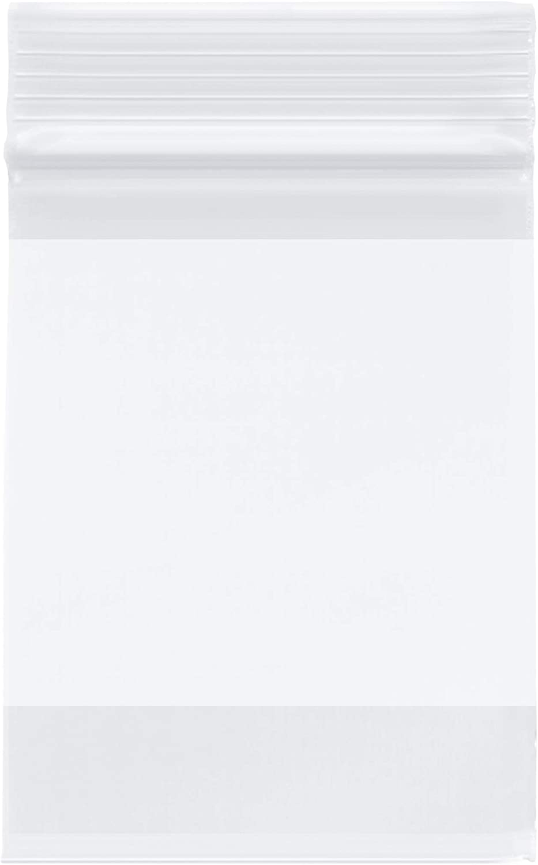 Plymor Zipper Reclosable Plastic Bags w/White Block, 2 Mil, 3