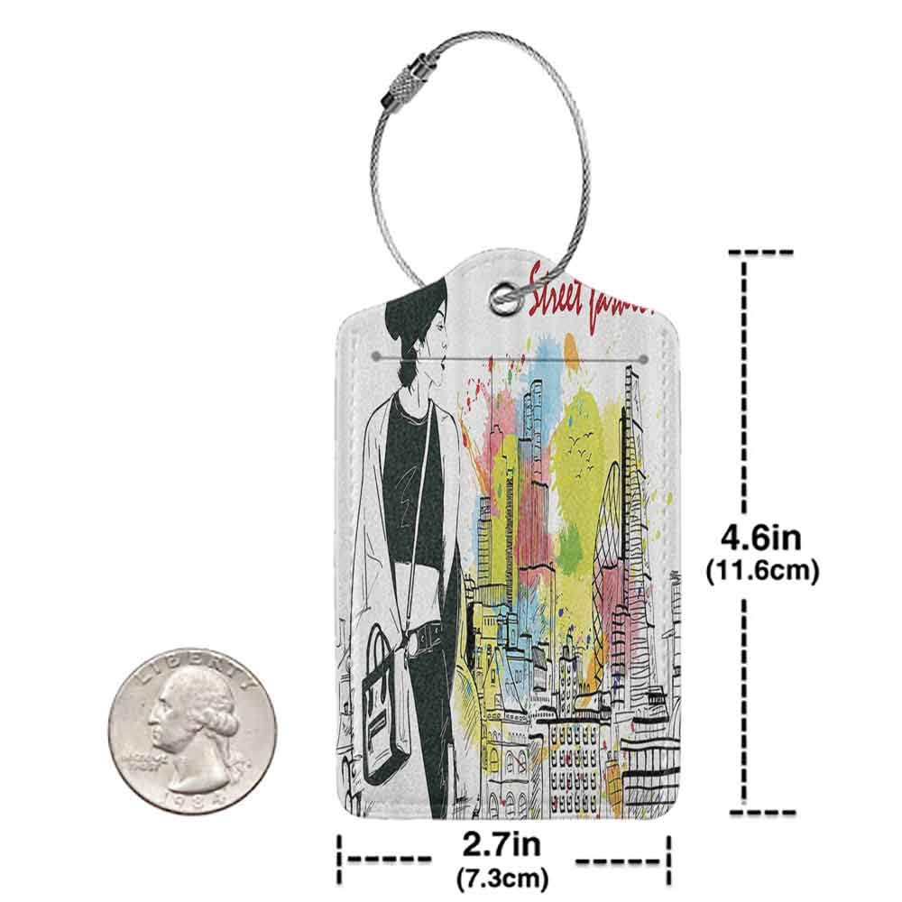 Small luggage tag Fashion House Decor Girl in Hovel Style Clothes Citys Skyscrapper Scene Street Fashion Quickly find the suitcase Black White W2.7 x L4.6
