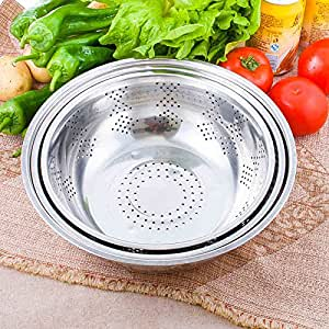 Stainless steel pots drain basin Wash rice and basket Drain,3/set