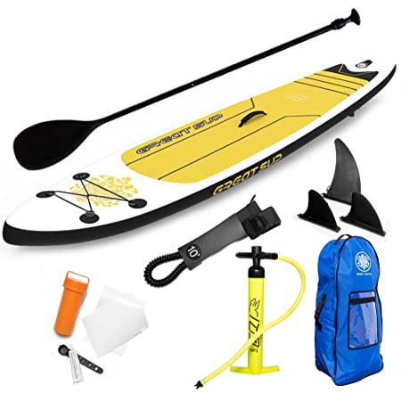 GREAT SUP Inflatable 11 Explorer Stand Up Paddle Board 4 Thick with Adjustable Paddle Travel backpack Air Pump Fins Leash Support up to 220 Lbs. All-Around Use Surfing Recreation