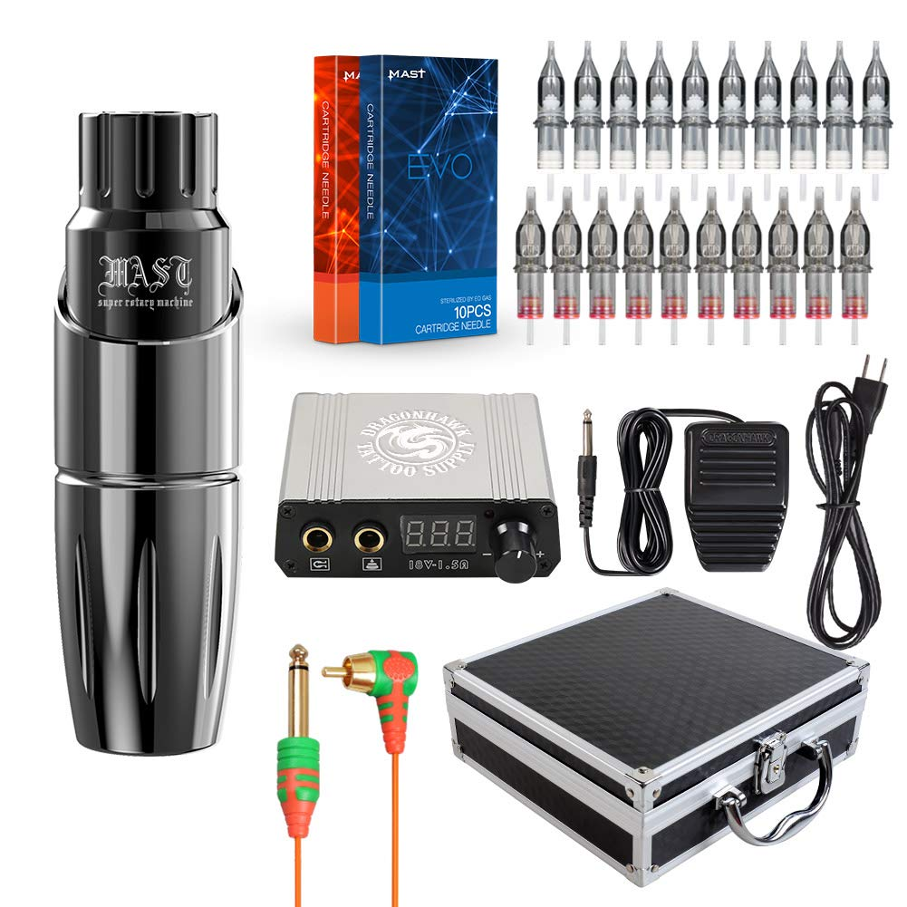 Dragonhawk Mast Tour Tattoo Pen Machine Kit 20Pcs Mast EVO Cartridges Needles Power Supply RCA Connected with Case by DRAGONHAWK