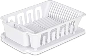 """EXTRA LARGE Heavy Duty Sturdy Hard Plastic Sink Set With Dish Rack with Attached Drainboard Cup Holders for Home Kitchen Counter Top Organizer - White (18 3/4"""" L x 13 3/4"""" W x 5 1/2"""")"""