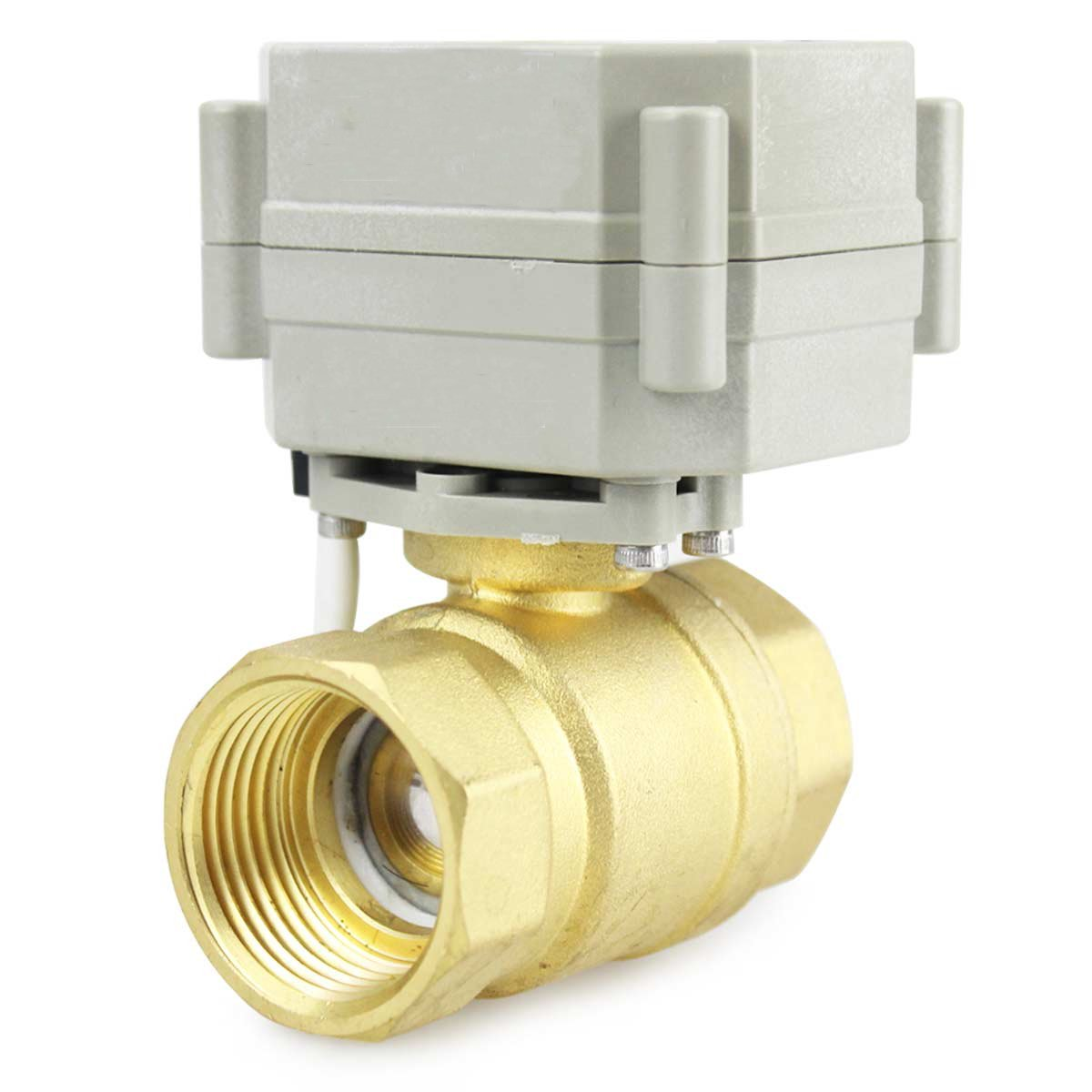 HSH-Flo 2 Way 1/2'' 3/4'' 1'' 1-1/4'' 110-230VAC Brass On/Off Auto Return Electrical Position Feedback Motorized Ball Valve (1-1/4 Inch)