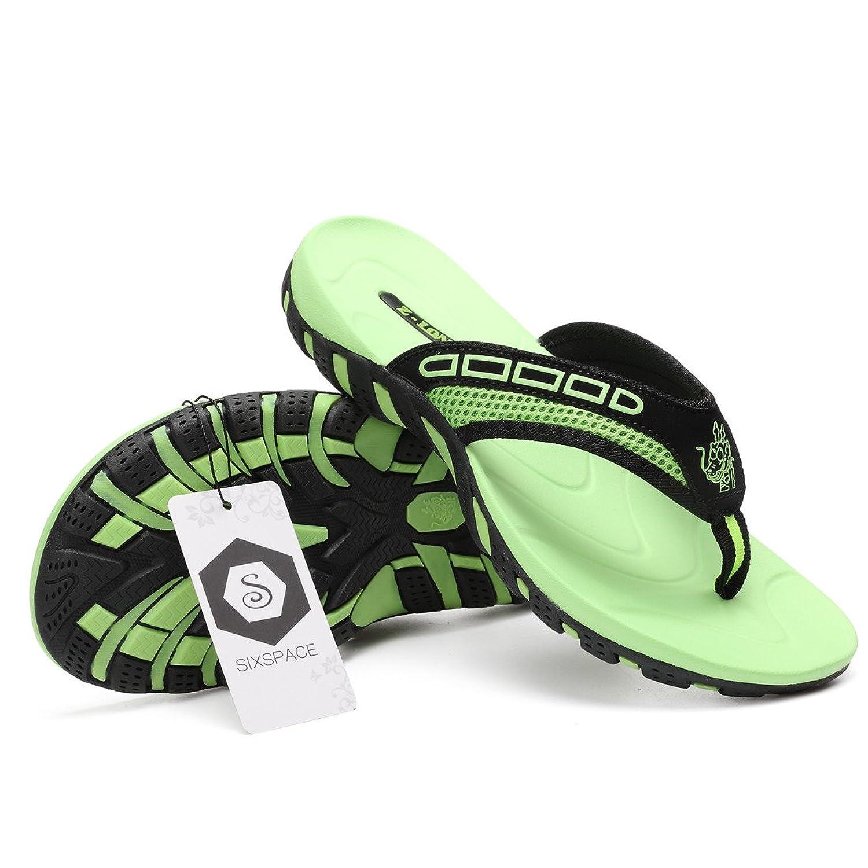 Sixspace Unisex-Erwachsene Zehentrenner Flip Pantoffeln für Damen Herren Kinder,Leuchtendes Grün 44 EU