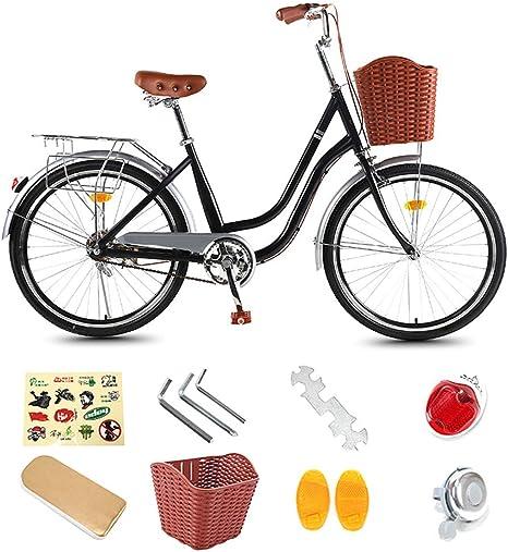 24/26 Pulgadas Bicicleta De Ciudad Mujer En Bicicleta Marco De Chicas Ligera Holandesa Acero De La Bici Retro Universidad del Viajero Ruta Trekking Bicicleta con Canasta: Amazon.es: Deportes y aire libre