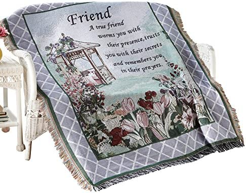 Collections Etc True Friend Garden Tapestry Throw