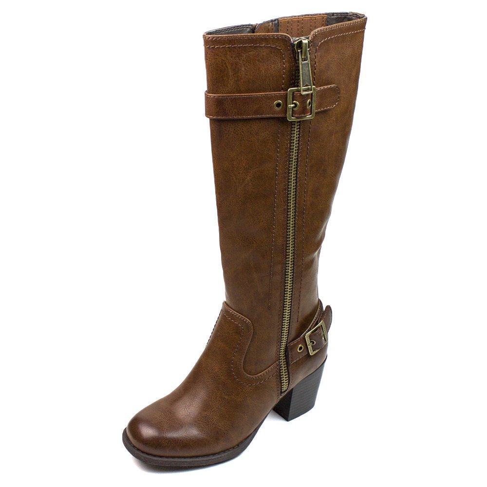 WHITE MOUNTAIN Women's Dover Harness Boot B01JGEI6H4 5.5 B(M) US|Cognac Wide