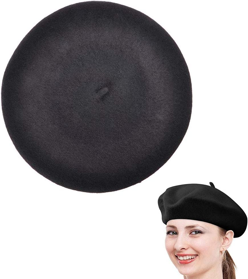 Vintage Classic French Artist Solid Color Wool Beret Hat Unisex Beanie Cap