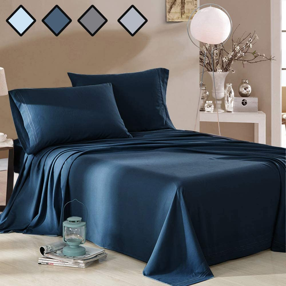 Stain Resistant and Hypoallergenic Wrinkle Fade Full Size Bed Sheets Set Navy Blue 4 Piece by MELODIE DIRECT Super Soft Microfiber 1800 Thread Count Luxury Beddding Sheet with 15-Inch Deep Pocket