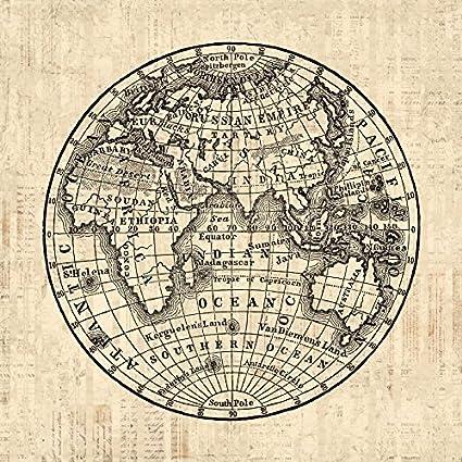 Amazon.com: Vintage Earth Globe Map Artwork Eastern Hemisphere