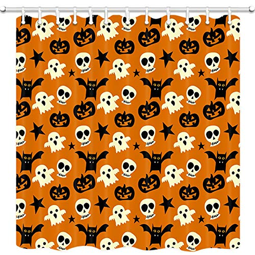 DYNH Halloween Shower Curtain, Skull Pumpkin Stars and Elf On Orange Wallpaper Bath Curtains, Fabric Shower Curtain for Bathroom 12PCS Shower Hooks, Mildew Resistant Waterproof 69X70 in Valance ()