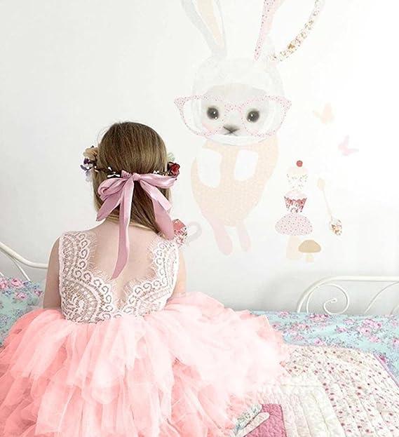Longra M/ädchen Kleider Baby Kinder Bogen Spitze Kleider /Ärmellos Sommerkleider Brautjungfer Hochzeit Kleid Festzug M/ädchen Prinzessin Tutu T/üll-Kleid Karneval Party Kleid