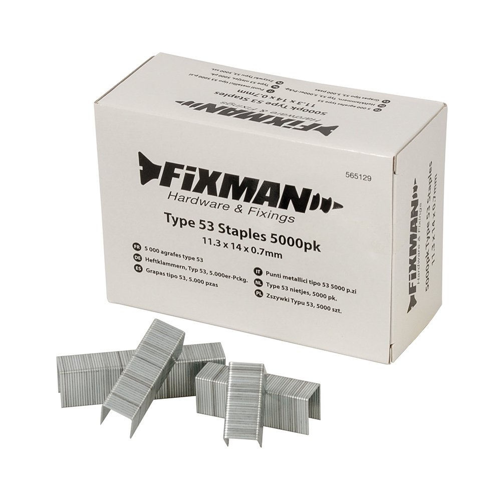 Fixman 915769 Type 53 Staples 11.3 x 8 x 0.7mm Pack of 5000