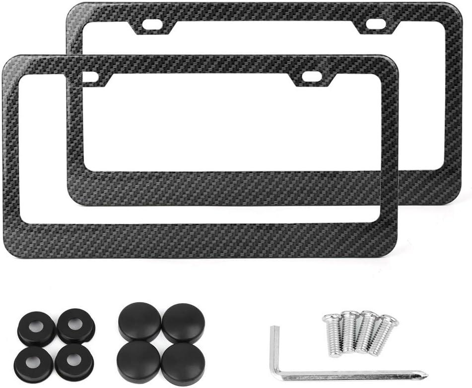 X AUTOHAUX 2 Pcs Carbon Fiber Style Car 2 Hole License Plate Frame Holder W/Screw Caps - Wide Rim