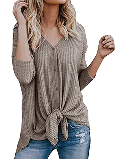 59bd0847 Halife Womens Loose Fitting Henley Shirts Button Down Long Sleeve High Low  Front Tie Tops Khaki, XL at Amazon Women's Clothing store: