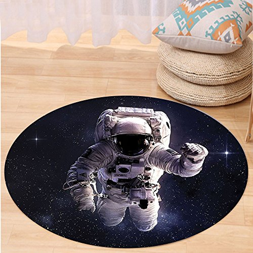 VROSELV Custom carpetGalaxy Astronaut in Outer Space Stardust Nebula in Milky Way Cosmonaut Apollo Art Bedroom Living Room Dorm Decor White Dark Blue Round 24 inches - Apollo Astronaut Costume