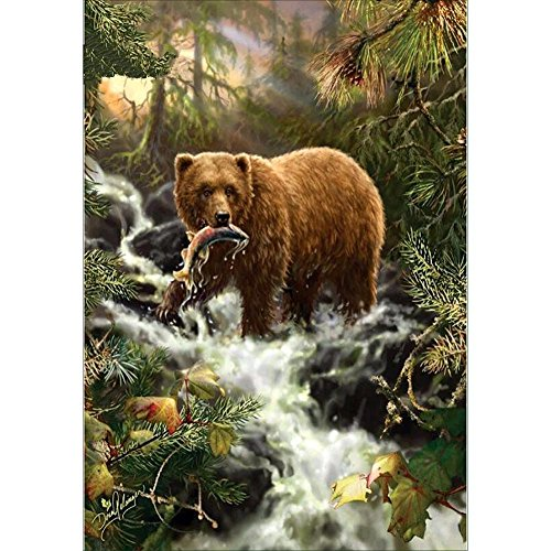 diamond embroidery bears eat fish