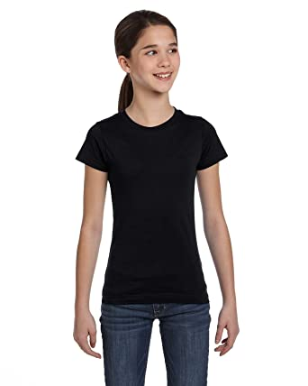 180efd1e01fa84 Amazon.com  LAT Sportswear Girl s Fine Jersey Longer-Length T-Shirt ...