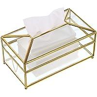 Sumnacon Rectangular Glass Paper Tissue Box, Decorative Glass Napkin Storage Box, Facial Tissue Holder for Dresser…