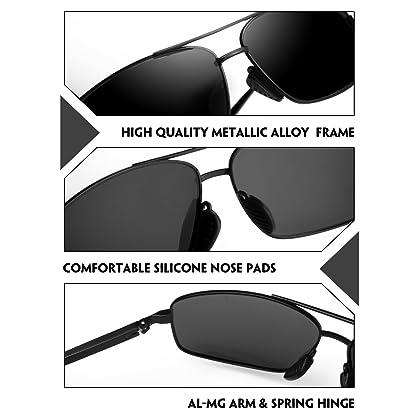 be1e09405f IALUKU Rectangular Polarized Sunglasses for Men Square Retro Aviator  Sunglasses