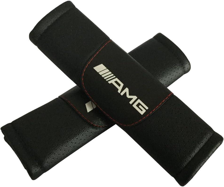 2/Set AMG Auto Sitz Sicherheitsgurt umfasst die Leder Schulter Pad Zubeh/ör Passform f/ür Mercedes Benz Auto Modell
