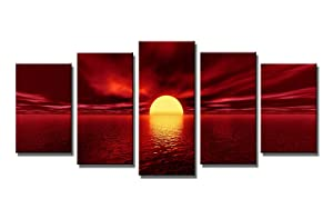 Wieco Art Red Sun Canvas Prints Wall Art Ocean Sea Beach Pictures Paintings Ready to Hang for Living Room Bedroom Home Decorations Modern 5 Piece Stretched and Framed Grace Landscape Giclee Artwork