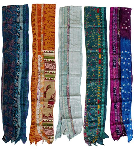 Vinage Silk Sari Recycled Fashionable Multi-Color Patchwork scarf Lot 10 Pieces