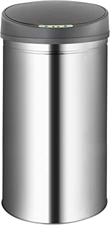 Cubo de Basura Redondo de Acero Inoxidable de Movimiento Automatico 50Litros Cubo Basura con Sensor Autom/ático