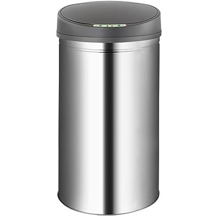 Jago - Cubo de basura automático de cocina con sensor de movimiento de de acero inoxidable