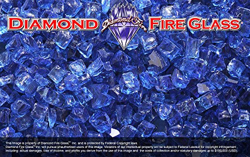 Electric Blue Reflective Nugget - Diamond Fire Pit Fireplace Glass - 5 Lbs (For Electric Crystals Fireplace)