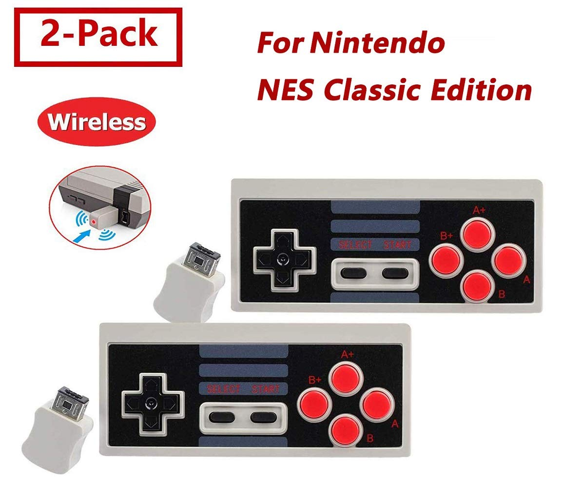 2 Pack NES Classic Wireless Controller, Nintendo Classic Controller Gamepad Joypad for Nintendo NES Classic Edition (NOT for SNES Super Nintendo Classic Edition) by Lxuemlu (Image #1)